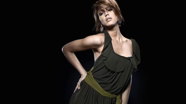 Jessica Alba In Black Dress Modeling Pose N Black Background